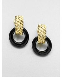 Kenneth Jay Lane | Black Twotone Doorknocker Clipon Earrings | Lyst