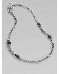 Konstantino | Metallic Sterling Silver 18k Gold Iolite 2 Station Necklace | Lyst