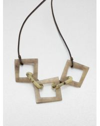 Lafayette 148 New York | Metallic Wood Resinlink Leather Necklace | Lyst