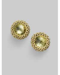 Lagos - Green Quartz 18k Gold Stud Earrings - Lyst