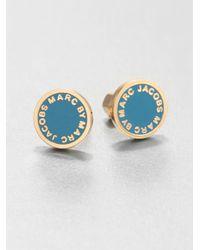 Marc By Marc Jacobs - Blue Enamel Logo Stud Earrings Turquoise - Lyst