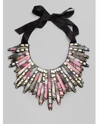 Oscar de la Renta - Gray Rectangular Bead Bib Necklace - Lyst