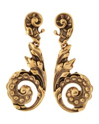 Oscar de la Renta | Metallic Carved Scrollwork Clip Earrings | Lyst
