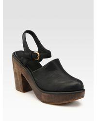 Rachel Comey - Black Leather Slingback Platform Clogs - Lyst