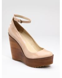 e38b20a595509 Stella McCartney Faux Patent Leather Wooden Wedge in Pink - Lyst