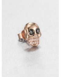 Sydney Evan | White Black Diamond, Enamel & 14k Rose Gold Skull Single Stud Earring | Lyst