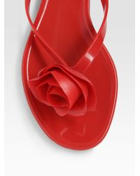 Valentino - Red Rose Jelly Thong Sandals - Lyst