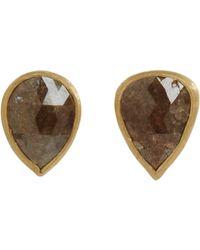 Malcolm Betts - Brown Black Diamond Circular Stud Earrings - Lyst