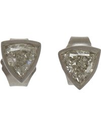 Malcolm Betts | Metallic Trillion-cut White Diamond Stud Earrings | Lyst