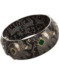 Munnu - Gray Diamond Ruby Emerald Elephant Bangle - Lyst