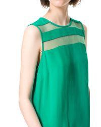 Zara | Green Top with Sheer Stripe | Lyst
