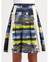 Akris Punto - Blue Graphic Print Pleated Skirt - Lyst