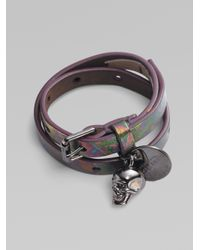Alexander McQueen | Multicolor Patent Leather Skull Wrap Bracelet | Lyst
