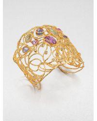 Alexis Bittar | Metallic Jeweled Lace Cuff Bracelet | Lyst