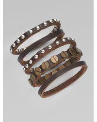 By Malene Birger - Brown Studded Leather Bracelet Set - Lyst