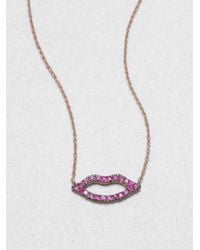 Diane Kordas | Pink Sapphire & 18K Rose Gold Lips Necklace | Lyst