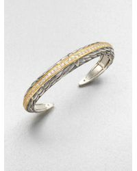 Elizabeth and James - Metallic White Sapphire Accented 23k Gold Sterling Silver Bangle Bracelet - Lyst