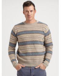 Gant Rugger - Brown Fair Isle Sweater for Men - Lyst