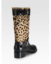 Giambattista Valli - Black Leopardprint Pony Hair and Leather Kneehigh Motorcycle Boots - Lyst