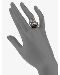 Gucci | Metallic Sterling Silver Black Horn Wrapped Ring | Lyst