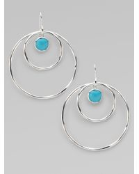 Ippolita - Metallic Turquoise Cabochon Sterling Silver Hoop Earrings - Lyst