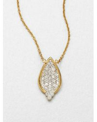 Jude Frances | Metallic White Sapphire Encrusted Pear Pendant Necklace | Lyst