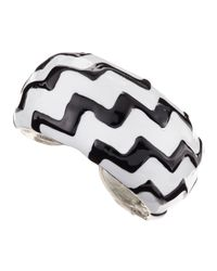 Kenneth Jay Lane - Metallic Zig Zag Enamel Cuff - Lyst