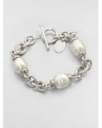 Majorica | 12mm White Baroque Pearl Station Bracelet | Lyst