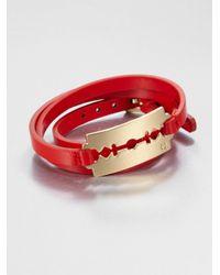 McQ - Metallic Double Wrap Leather Razor Bracelet for Men - Lyst