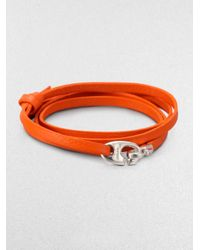 Miansai - Orange Bind Leather Wrap Bracelet - Lyst