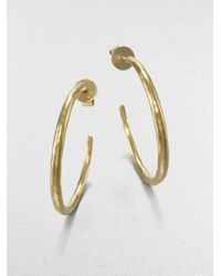 Mija | Metallic Hammered Hoop Earrings/1.5 | Lyst