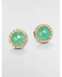 Mija - Metallic Light Green Jade & White Sapphire Mini Button Earrings - Lyst