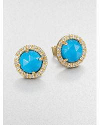 Mija - Blue Turquoise and White Sapphire Button Earrings - Lyst