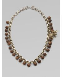 MILLY | Brown Wood Crystal Elephant Charm Necklace | Lyst