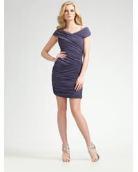 Nicole Miller | Purple Off-the-shoulder Ruched Dress | Lyst