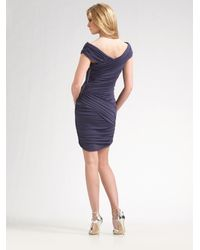Nicole Miller - Purple Off-the-shoulder Ruched Dress - Lyst