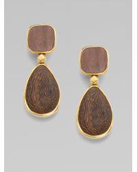 Oscar de la Renta - Brown Wood Drop Earrings - Lyst