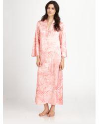 abd8248ea8 Lyst - Oscar de la Renta Printed Zip Caftan in Pink