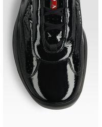 Prada - Black Leather Sneakers for Men - Lyst