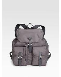 Prada | Gray Vela Backpack | Lyst