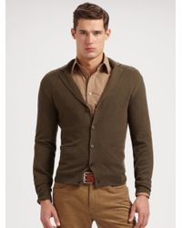 Ralph Lauren Black Label | Green Notch-lapel Cashmere Cardigan for Men | Lyst
