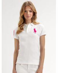 e1fc045366 Ralph Lauren Blue Label Polo Shirt in White - Lyst