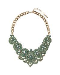 TOPSHOP - Green Premium Swirl Rhinestone Collar - Lyst