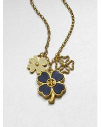 Tory Burch - Blue Shawn Cluster Clover Pendant Necklace - Lyst