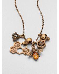 Alexander McQueen | Metallic Skull Bee Cluster Pendant Necklace | Lyst