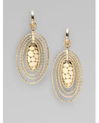 John Hardy - Metallic 18k Gold Oval Hoop Drop Earrings - Lyst
