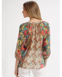 Joie | Blue Goldstone Printed Silk Blouse | Lyst