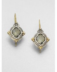 Konstantino | Gray Prasiolite Sterling Silver 18k Yellow Gold Earrings | Lyst