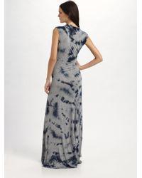 MICHAEL Michael Kors - Gray Tie-dyed Cowlneck Maxi Dress - Lyst