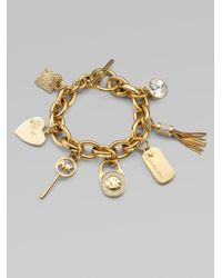 Michael Kors - Gray Stone Accented Charm Bracelet - Lyst